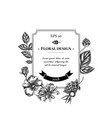 badge design with black and white dog rose hop vector image vector image