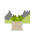 bag money with statistics isolated icon design vector image vector image