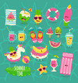 beach funny set summer time vector image