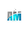 blue grey alphabet letter combination am a m for vector image vector image