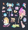 brave tomboy princess cartoon set princess vector image vector image