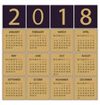 calendar 2018 year week starts with monday vector image vector image