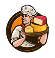 chef holding a tray of cheese food eating vector image