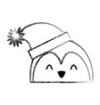 christmas penguin face cartoon vector image vector image