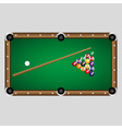complete set of color billiards balls and table vector image