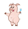 cute pink pig with a glass champagne vector image vector image