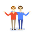 friendship concept of two guys boys stock vector image vector image