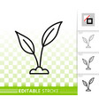green leaves simple black line icon vector image vector image