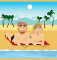 happy couple lying on towel at tropical beach vector image