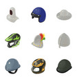 head protection icons set isometric style vector image vector image
