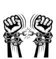 human hands breaking steel chains vector image