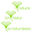 I love nature in english spanish and german vector image