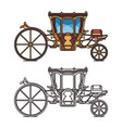 isolated icons for fairytale carriage or chariot vector image vector image