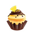 lemon cake isolated realistic cupcake with lemons vector image