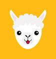 llama alpaca animal face icon cute cartoon funny vector image