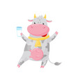 lovely spotted cow with golden bell holding glass vector image