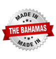 made in the bahamas silver badge with red ribbon vector image vector image