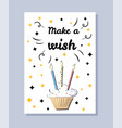 make a wish white postcard vector image