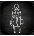 man with a bright idea drawing on chalk board vector image vector image