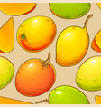mango fruits pattern on color background vector image vector image