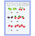 math education for children exercises on addition vector image vector image