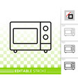 microwave simple black line icon vector image vector image