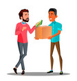 money goods relationship man giving money to man vector image