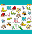 one a kind game with insect animals vector image