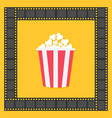 popcorn film strip square frame red yellow box vector image vector image