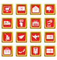 poste service icons set red vector image