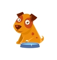 Puppy Sitting Next To The Bowl With Water vector image vector image