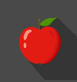 red apple cartoon flat icondark blue background vector image vector image
