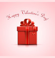red gift box with heart shapes vector image vector image