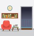 Red Sofa With Bookcase vector image vector image