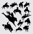 Rodeo cowboy riding animal silhouettes vector image vector image