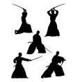 samurai gesture silhouette 02 vector image vector image