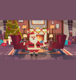 santa claus in living room decorated for christmas vector image vector image