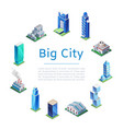 set 3d isometric skyscrapers big city houses vector image vector image