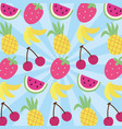 set fruits pattern kawaii style vector image vector image