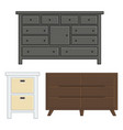 set of drawer and cabinet for interior household vector image vector image