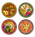 set of seasonal autumn round drink coasters for vector image