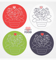 set of shopping baskets with fruits vegetables vector image