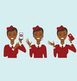 set of three cabin crew characters vector image vector image