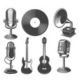 set retro microphone guitars gramophone vector image