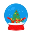 snow globe Christmas tree vector image