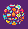 summer holiday icons arranged in a circle vector image vector image