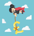 super business woman pulling silver pound symbol vector image vector image