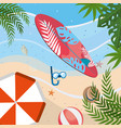 surfboard with snorkel masks and umbrella with vector image