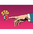 The red stop button hand presses vector image