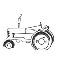 tractor sketch agricultural logo vector image vector image
